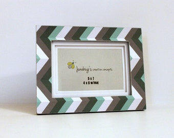 5x7 4x6 Photo Frame Aqua Gray Chevron | Modern Chevron Frame | Grey White Green Chevron Picture Frame | Zig Zag Photo Frame