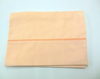 Vintage Pillowcase Melon Colored Bedding Linens Light Orange
