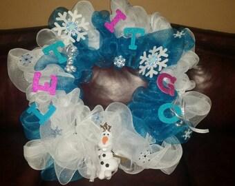 Frozen themed geo-mesh wreath