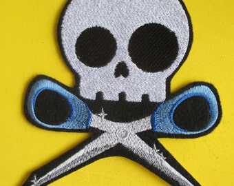 Large Embroidered Skull with Scissors Applique Patch, Skully and Scissors, Gothic Patch, Running  with Scissors, Iron On, Sew On, Skeleton