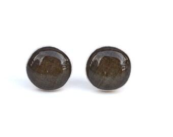 Chocolate brown stud earrings, brown post earrings, brown studs eco friendly jewelry, wood earrings, minimalist jewelry