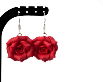 Red Rose Earrings. Polymer Clay Floral Earrings. Red Dangle Earrings. Red Jewelry. Red Roses. Flower Jewelry