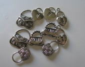 Antique Silver  Purse and Heart lock Charms   Jewelry Supplies