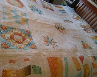 Vibrant seashore handmade quilt/ON SALE