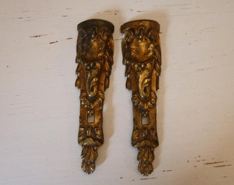Antique Bronze Furniture Mount Pair Garnishing In Napoleonic Style Acanthus and Garland Design