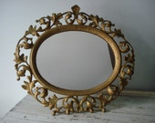 Antique gold gilt mirror/large Antique scrolled iron mirror/vintage ornate mirror