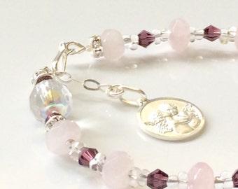 Rosary Bracelet Rose Quartz and Sterling Silver - Angel Bracelet
