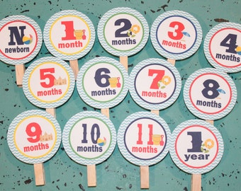 POOL PARTY Beach Party  1st Birthday Photo Clips Banner Newborn - 12 months Red Blue