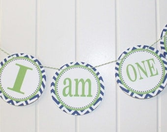 PREPPY CHEVRON ALLIGATOR Highchair Banner 1st Birthday Party Lime Green Navy