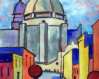 "SALE Original painting Mexican street and church in San Miguel Allende Mexico Colonial architecture art wall acrylic on paper  19.5""x 27.5"""