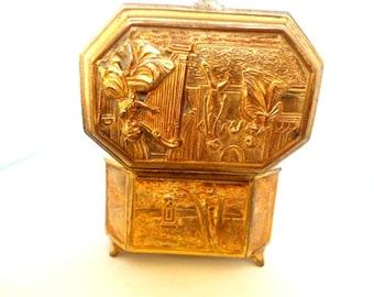 Antique 19th Century Art Nouveau Ormolu Jewelry Casket Marked JB Mfg 423 Patent Applied For