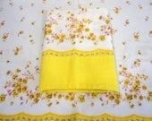 Vintage Pillowcase Set - White With Bright Yellow Florals & Pink Leaves - Bright Yellow Hem