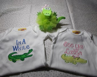 Twins One Piece Bodysuit Set - Twin Outfit  - Twin Babies gift -See Ya Later Alligator, In A While Crocodile  alligator hair clip for girl