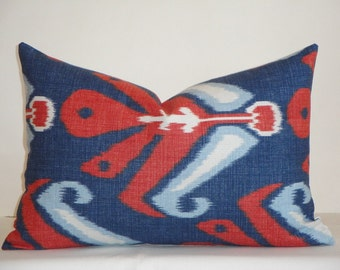 Duralee IKAT - 12 x 18 Lumbar Decorative Pillow Cover - Coral/Red - White - Blue - Americana