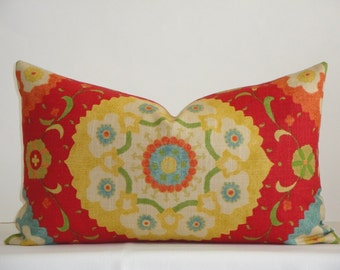 Decorative Pillow Cover / 12x20 / Suzani / Red / Yellow / Green / Blue / Orange