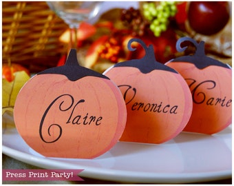 Pumpkin Place Cards Printable - Thanksgiving table - INSTANT DOWNLOAD pdf