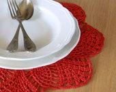 Crochet Placmat / Doily / Red color / Set of two / Home decoration