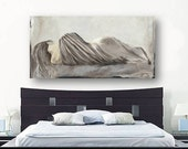 Greige netural LARGE wall art extra large Bedroom decor Canvas Print Figurative Sexy Woman pastels white taupe artwork living family room