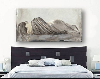 Greige Netural LARGE Wall Art Extra Large Bedroom Decor Canvas Print  Figurative Sexy Woman Pastels White Part 73