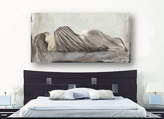 greige netural large wall art extra large bedroom decor canvas