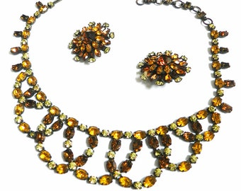 Gorgeous Austrian Vintage 1930s Scalloped Rhinestone Necklace and Earrings