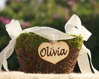 Personalized Flower Girl Basket/Nest Rustic -Fairytale Woodland Wedding - Moss & Twig Flower Girl Basket - Woodland Fairytale basket
