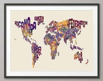 World Map, Typography Typographic Text Map of the World, Art Print (1767)
