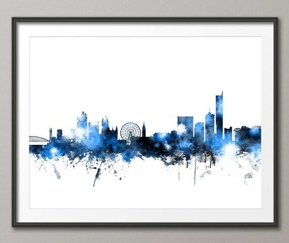 Manchester Skyline Manchester England Cityscape Art Print