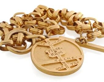 Vintage Karl Lagerfeld Road Map Medallion Necklace