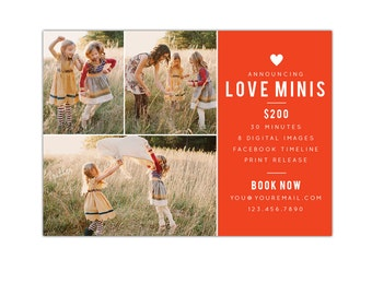 INSTANT DOWNLOAD  - Valentine Minis Photography Marketing board - Photoshop  template - E1183