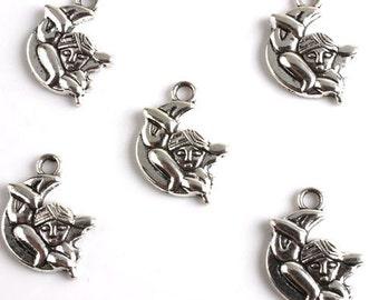 Angel Charm, 10 Charms Tibetan Silver 23 x 16 mm - ts585