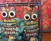 Owl Boho Earrings Antique Brass Jewelry