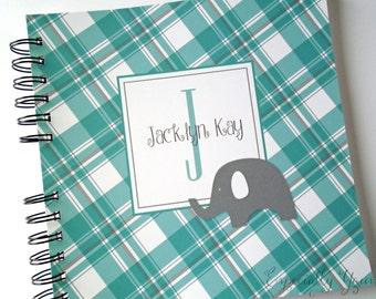 Grey Elephant Aqua Plaid Personalized Wire Bound Baby Memory Book Keepsake Album