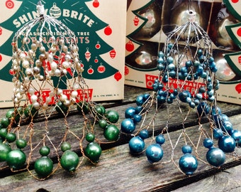 2 Vintage Mercury Glass Wire Christmas Bells Blue Green and Silver Pair