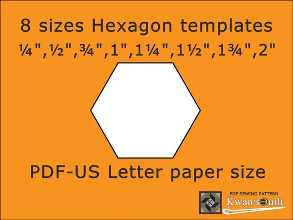 us letter size 8 sizes hexagon templates us letter instant downloaded pdf 1698