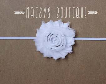 75% Off- White Shabby Flower Headband/ Newborn Headband/ Baby Headband/ Photo Prop
