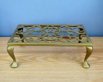 Arts and Crafts Brass Trivet Antique Edwardian Art Nouveau Home Decor