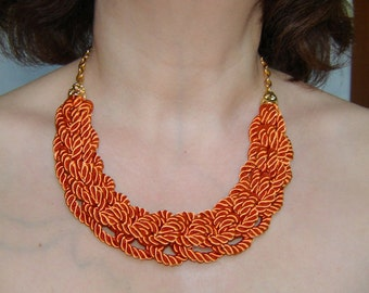 FREE SHIPPING. Harvest orange  knot necklace. Silk rope.