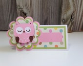 Set of 12 PINK and BROWN OWL Table/Food Tents (Place Cards) - Baby Shower/New Baby/Birthday Party - Decorations-Favors