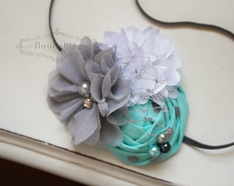 Aqua, Silver and White flower headband, grey headbands, baby flower headbands, photography prop, aqua headbands