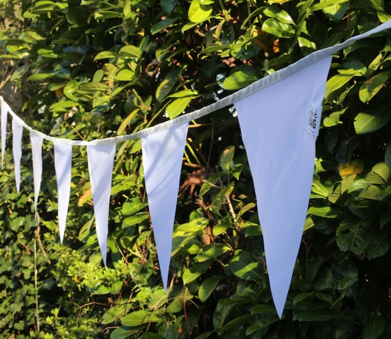 White Bunting Flags Outdoor Bunting Waterproof Fabric By