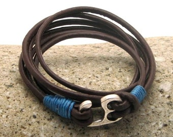 EXPRESS SHIPPING Men's leather bracelet . Leather bracelets. Men . Brown leather men's bracelet with silver plated little hook clasp