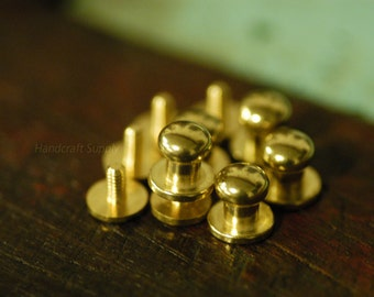 5pcs 8mm Round solid brass ball head Screws for Leather Craft