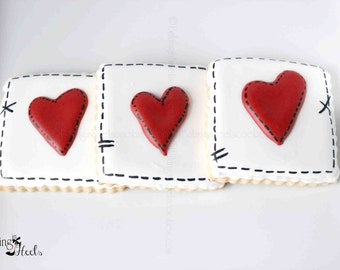 Valentine's Day Stitched Heart Decorated Cookies, Heart Cookies, Valentine's Cookies, Romantic Cookies, Stitched Hearts, Love Day, Custom