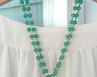 Vintage Green Beaded Chandelier Necklace, Green Glass Beads, Chandelier Glass Droplet, Double chain, Antique, Upcycled, Repurposed