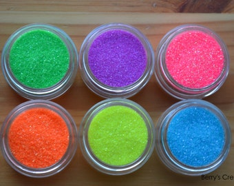 Loose Extra Fine Glitter. Neon Shades. Assorted Color. 6 Piece Set.