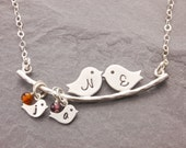 Family Necklace, 1-5 kids, mothers day, mothers necklace, mom bird necklace, new mom necklace, love birds, personalized jewelry, N1