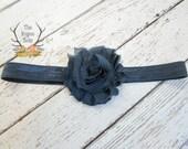 Navy Blue Headband - Soft Elastic with Shabby Chiffon Rosette - Newborn Baby Infant- Photo Prop