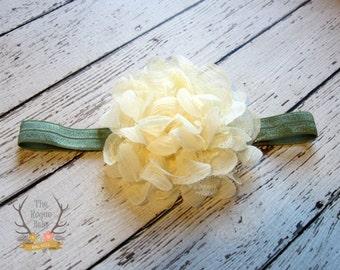 Green & Cream Headband  - Flower Girl Newborn Baby Infant Toddler - Wedding Lace Chiffon Flower - Army Olive Green