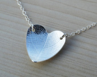 Silver Heart Necklace With Leaf Pattern - Sterling Silver